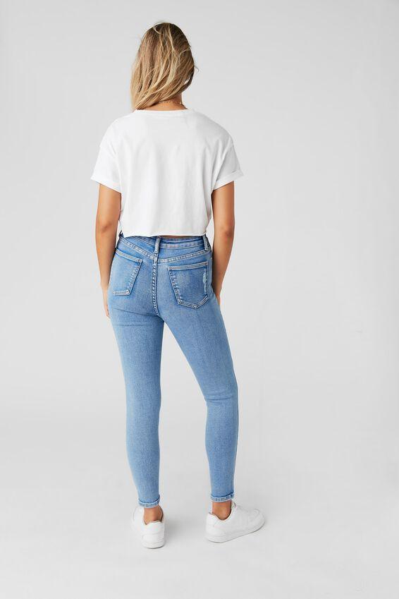 Short Leg Skinny Premium High Rise Ripped Jean, SPLASH BLUE