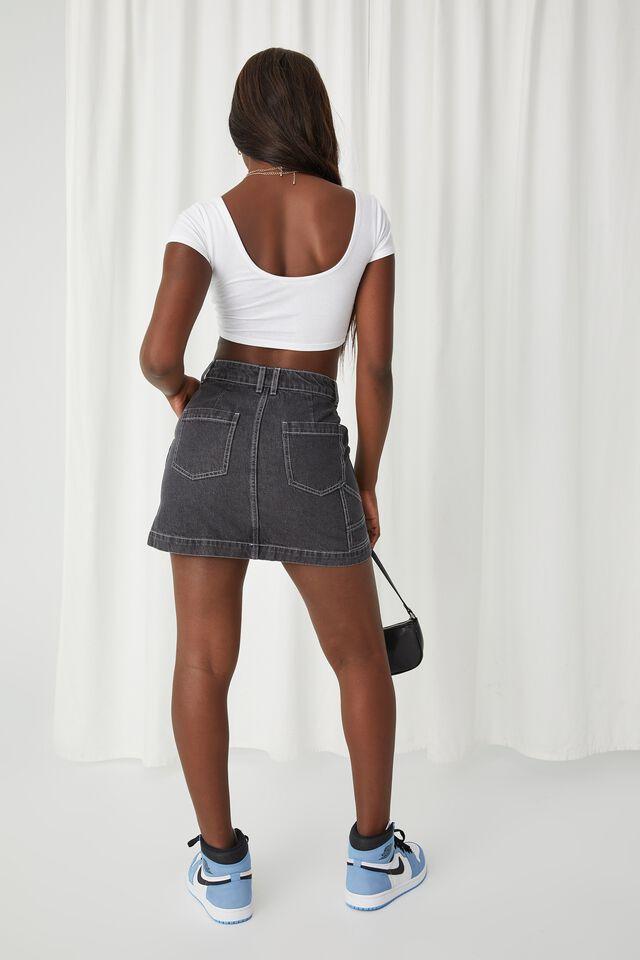 Rigid Denim Mini Skirt, WASHED BLACK