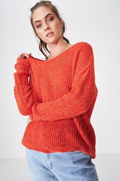 Scarlette Long Sleeve Chunky Knit, SPICE ORANGE