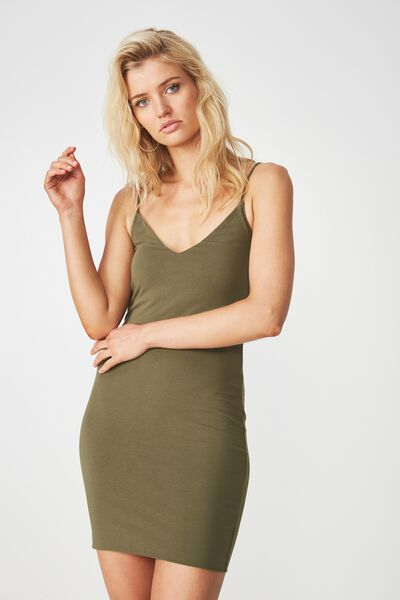 Deep V Double Layer Mini Dress, DARK KHAKI