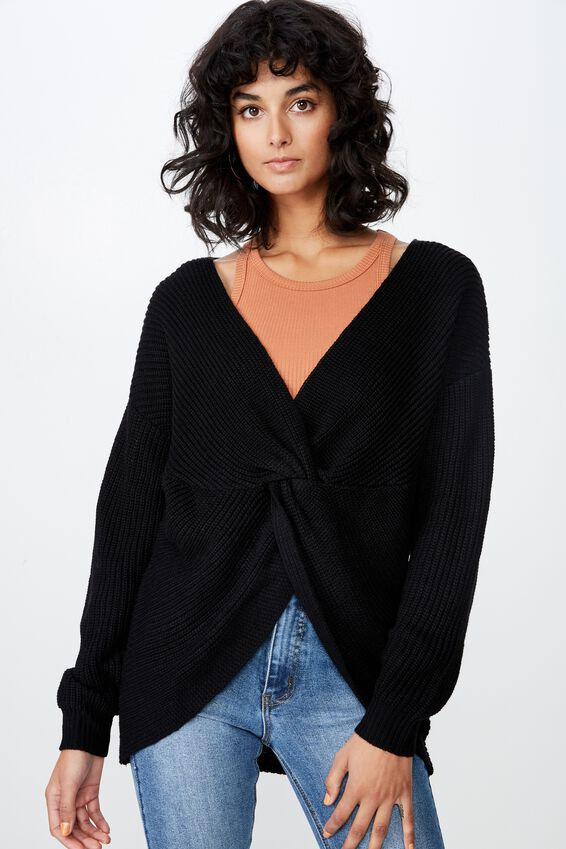 Bambi Twist Front Knit, BLACK