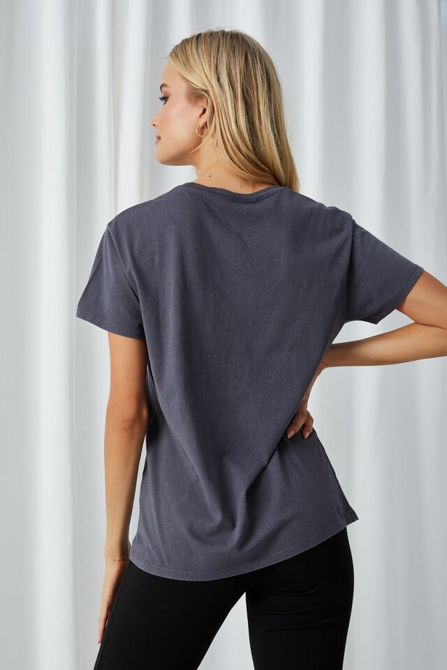 Lola Printed Longline T Shirt, VINTAGE WASH JET GREY/ASPEN EAGLE