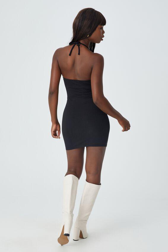 Uma Halter Mini Dress, BLACK