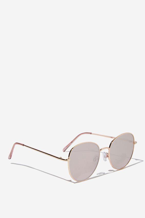 Frankie Round Sunglasses, GOLD/PINK