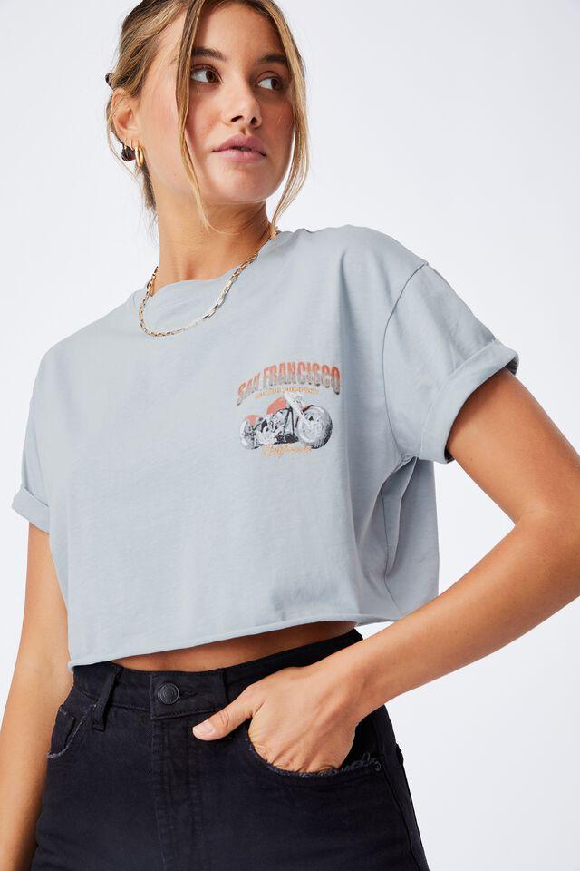 San Fran Motors Crop T shirt, NEWPORT BLUE/SAN FRANCISCO MOTORS