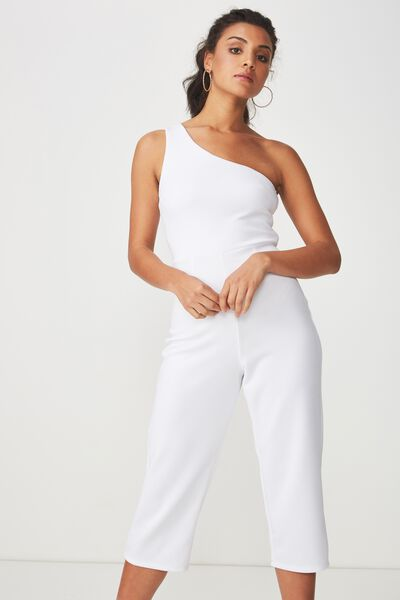 Fitted One Shoulder Jumpsuit, WHITE