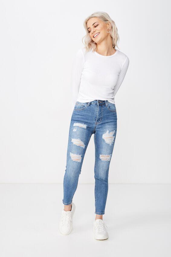 Short Skinny Premium Ripped Jean, BALTIC BLUE