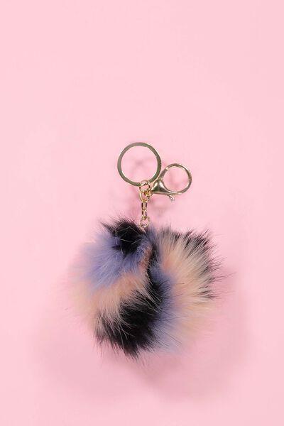 Stripe Faux Fur Keyring, PINK MULTI
