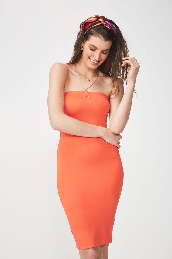 Party Strapless Midi Dress, TANGERINE