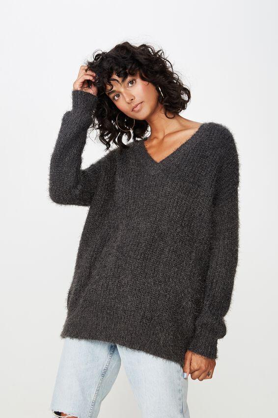 Mia V Neck Knit, CHARCOAL GREY