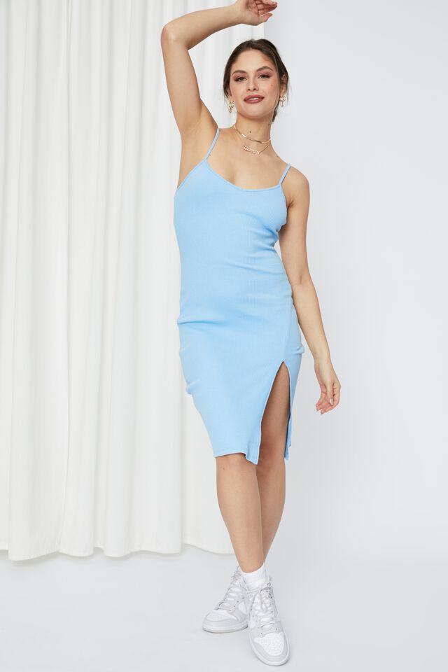 Gemma Split Midi Dress, ISLAND BLUE