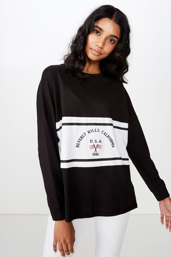 Barbados Long Sleeve Tee, BLACK/BEVERLY HILLS