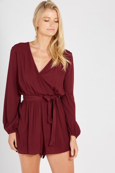 Annabelle Playsuit, BURGUNDY