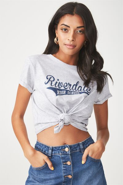 License Riverdale Knotted Tee, GREY/RIVERDALE