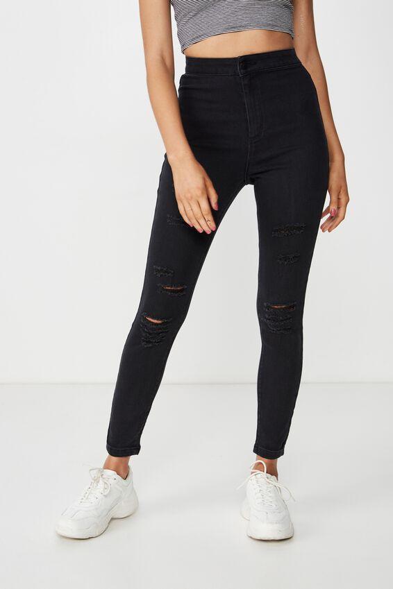 Short Super Skinny Sky High Ripped Jean, TRUE WASHED BLACK