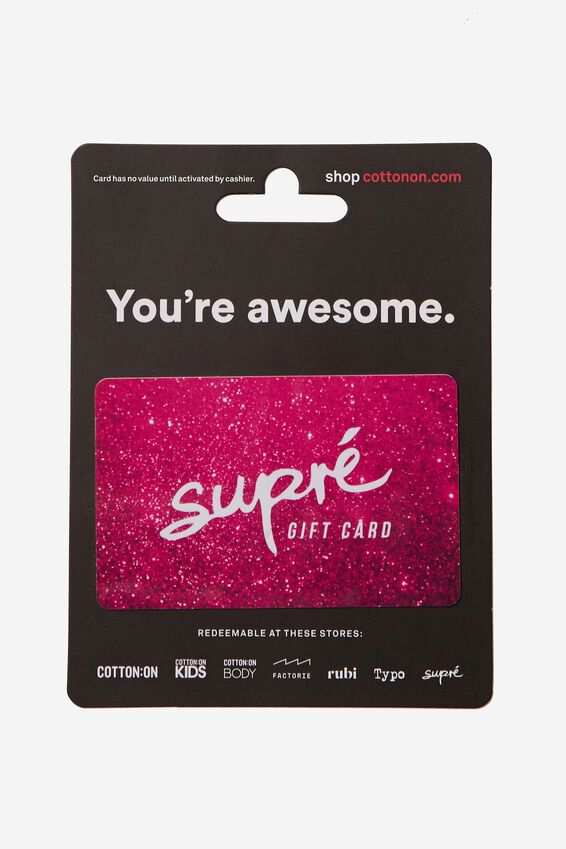 Supre Gift Card $50, WHITE