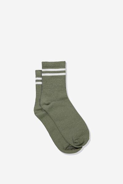 90S Stripe Crew Socks, KHAKI/WHITE