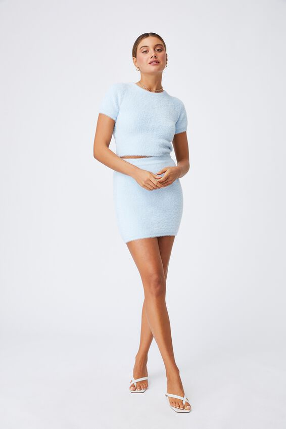 Fluffy Backless Co-ord Top, PEARL BLUE