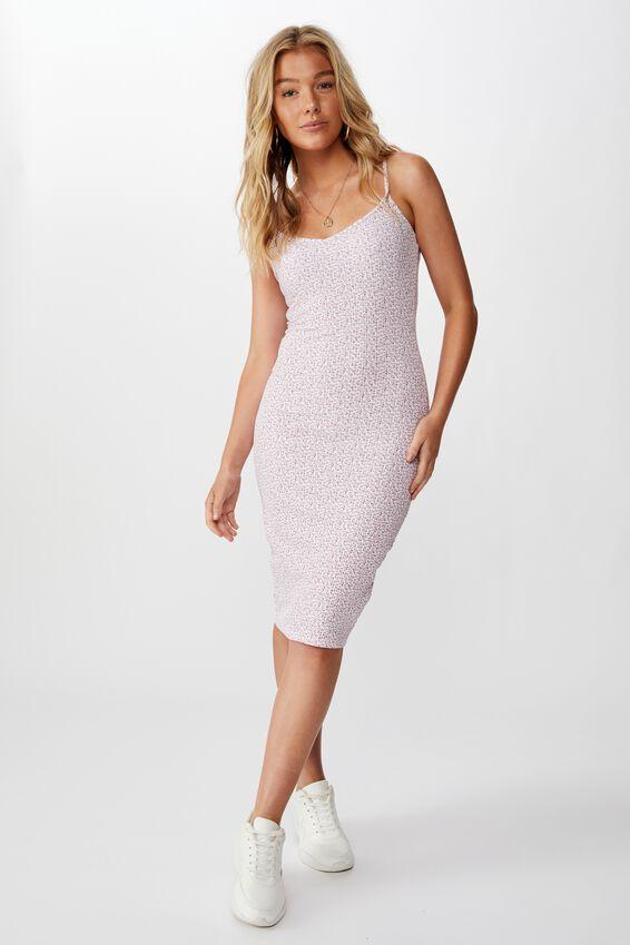 Serena V Neck Midi Dress, PEONY DITSY WHITE