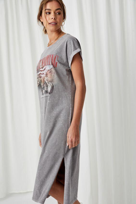 Jada T Shirt Midi Dress, CEMENT GREY/WYOMING