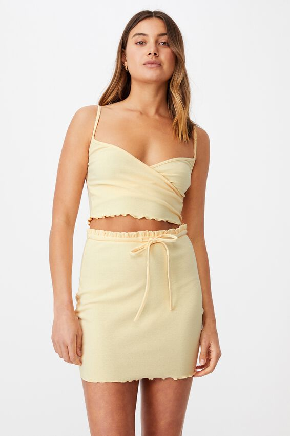 Brooke Lettuce Hem Jersey Skirt Co Ord Set, CREAMY YELLOW