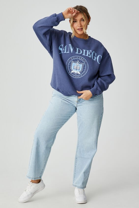 Tonya Oversized Crew Jumper, POLO BLUE/SAN DIEGO