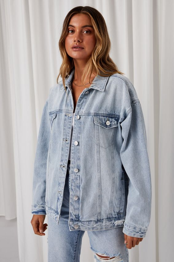 Oversized Denim Jacket, LIGHTNING BLUE FADE