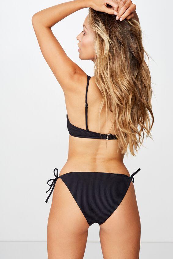 Bells Tie Side Bikini Bottom, BLACK RIB