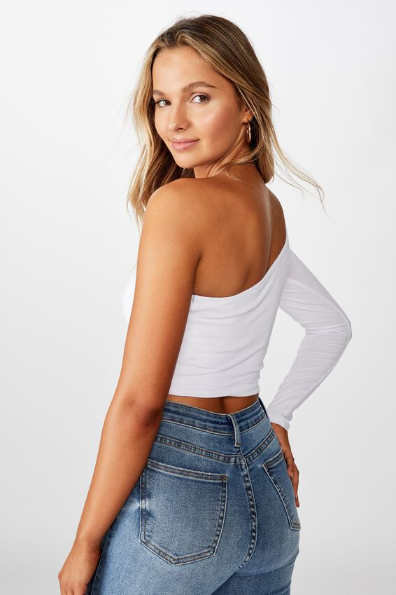 Haven One Shoulder Long Sleeve Top, WHITE