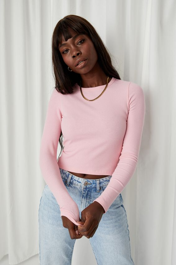 Aspen Long Sleeve Rib Top, ROSEBLOOM