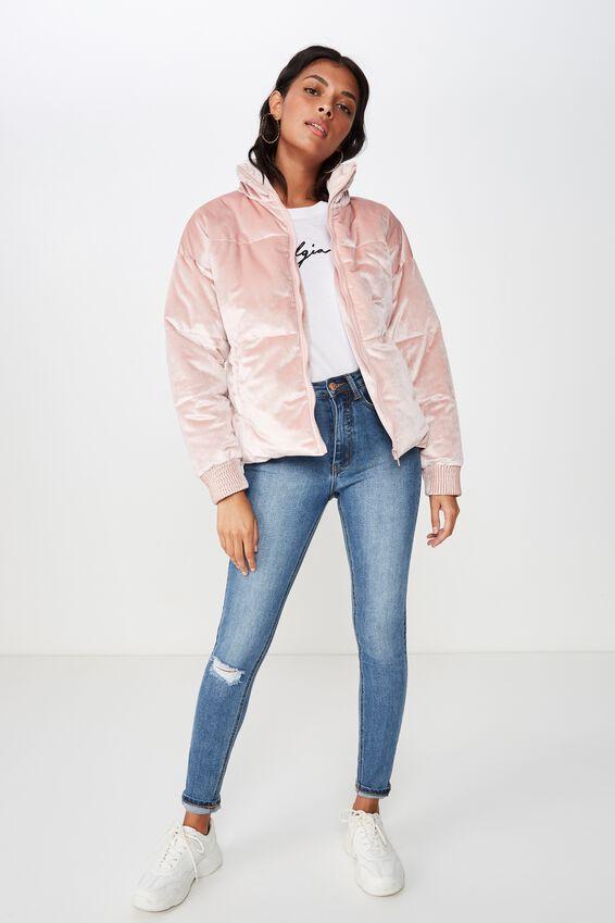 Astrid Velvet Bomber Jacket, DUSTY PINK