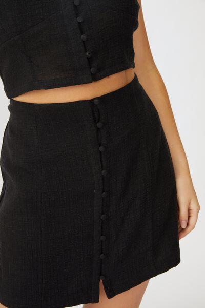 Jessie Button Through Mini Skirt, BLACK