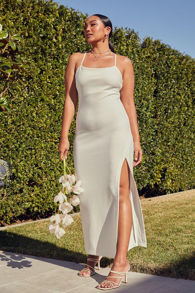 Lena Low Back Formal Dress, WARM WHITE