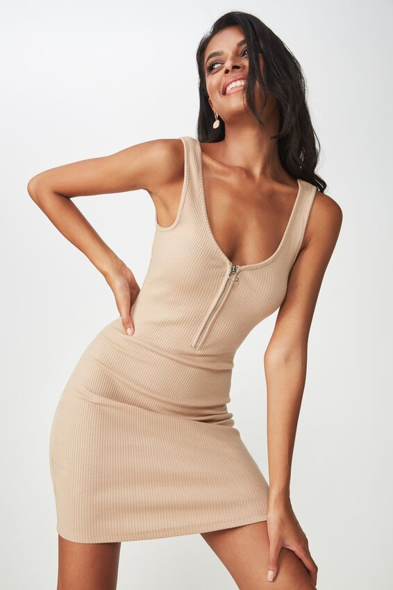 Zip Front Rib Dress, BROWN SUGAR