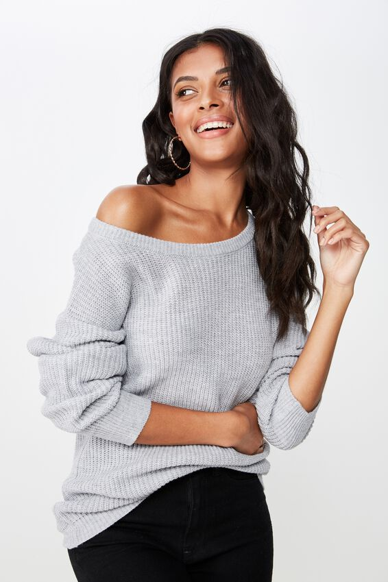 Dallas L/S Off The Shoulder Knit, GREY MARLE