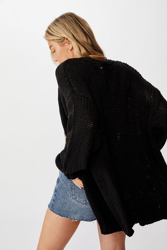 Oversized Greta Cardigan, BLACK