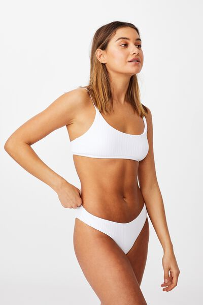 Orange County Full Bikini Bottom, WHITE/ WIDE RIB