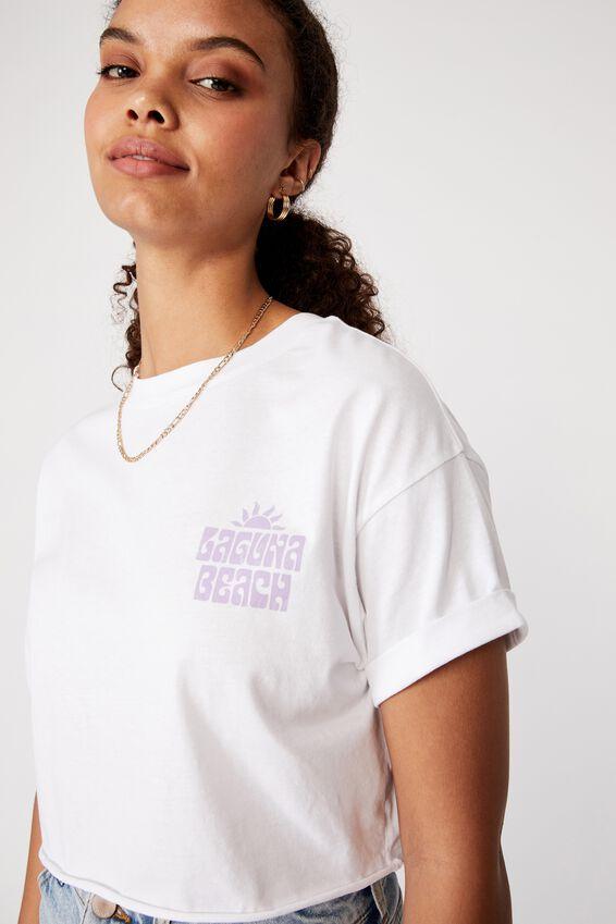 Tamara Printed Crop T Shirt, WHITE/LAGUNA BEACH