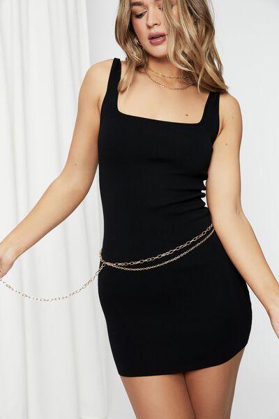 Addison Mini Chain Belt, GOLD