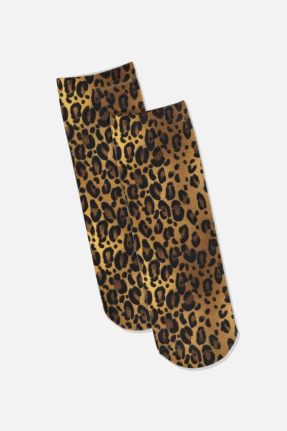 90S Leopard Sock, LEOPARD