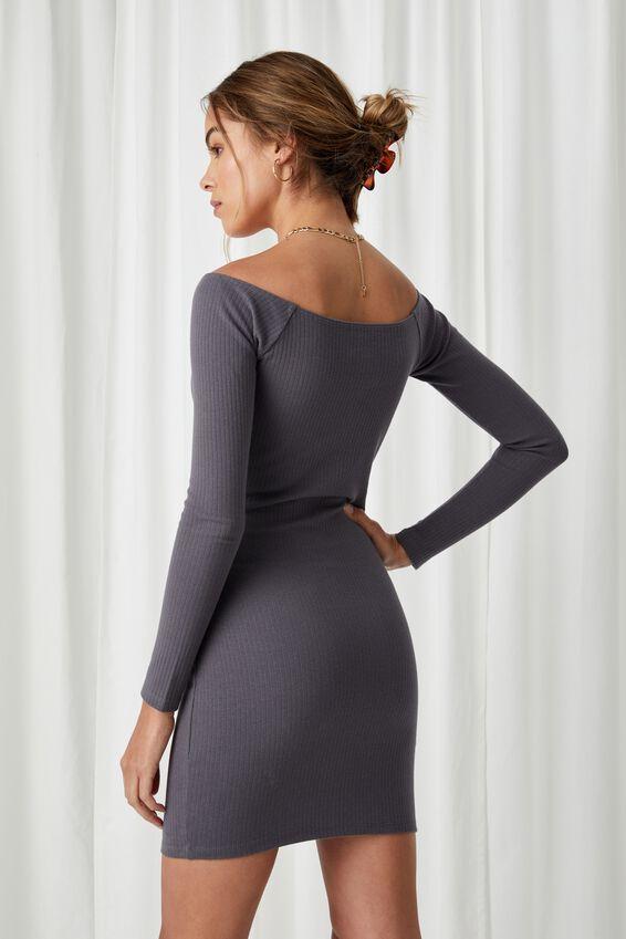 Pia Buttoned Mini Dress, JET GREY