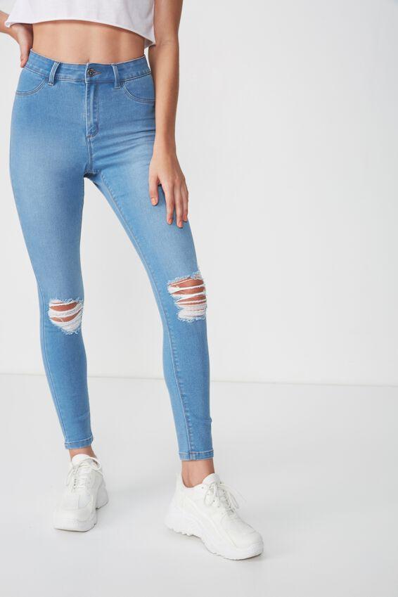 Super Skinny Ripped Jean, WAVE BLUE