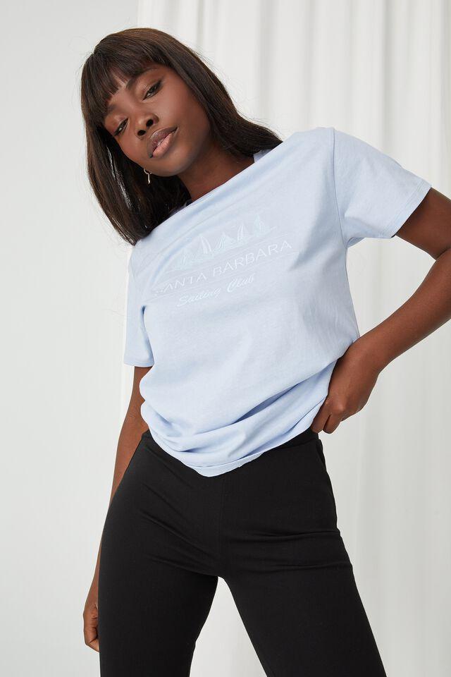 Lola Printed Longline T Shirt, BLUE PETAL/SANTA BARBARA