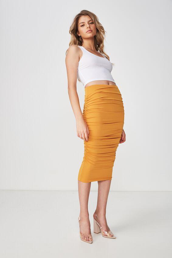 Party Gathered Midi Skirt, DEEP MUSTARD