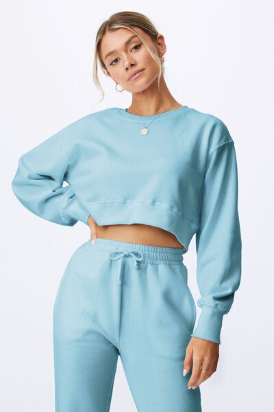 Personalised Louisa Cropped Jumper- Initials, CHALKY TEAL