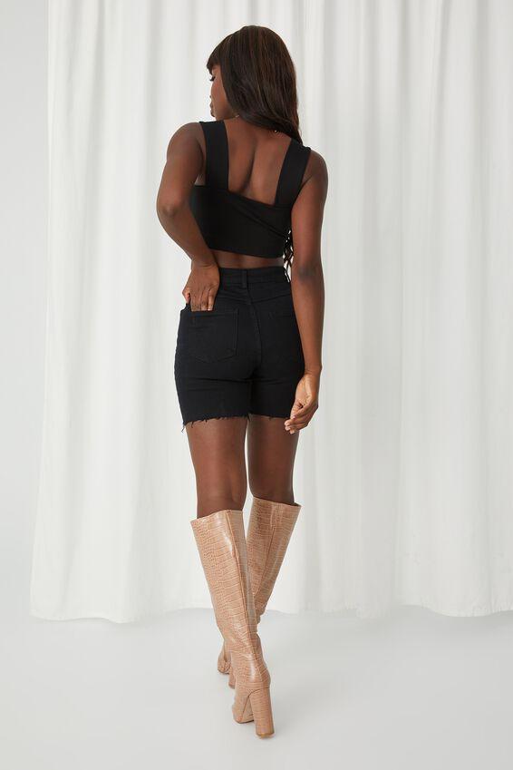 Stretch Bermuda Denim Short, TRUE BLACK