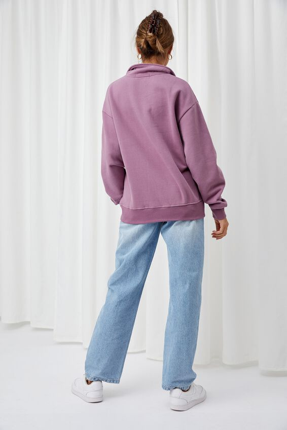 Hayden Quarter Zip Jumper, ICED PLUM/BUTTERFLIES