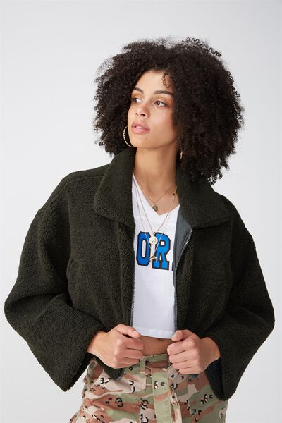Cropped Teddy Jacket, KHAKI