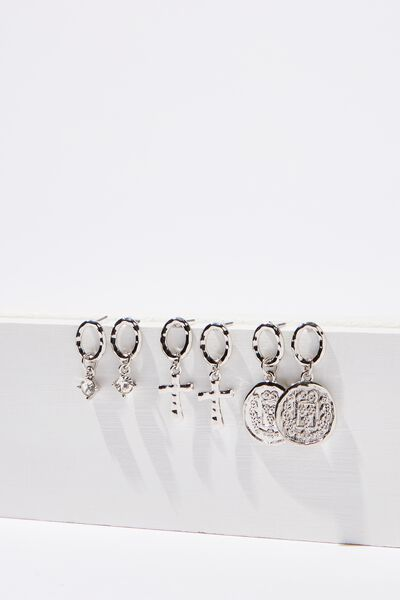 Mini Charm Earring Set, SILVER