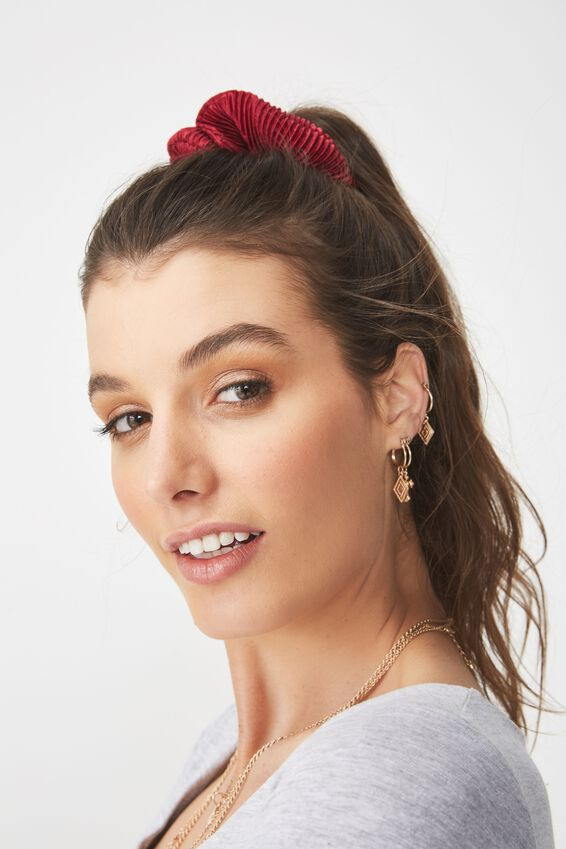 Scrunchie, PLEATED BURGUNDY